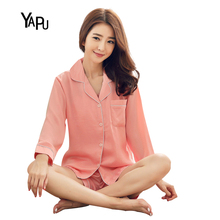 YAPU Spring and summer thin section long-sleeved cardigan pajamas suit women's harness vest + shorts + jacket silk home service