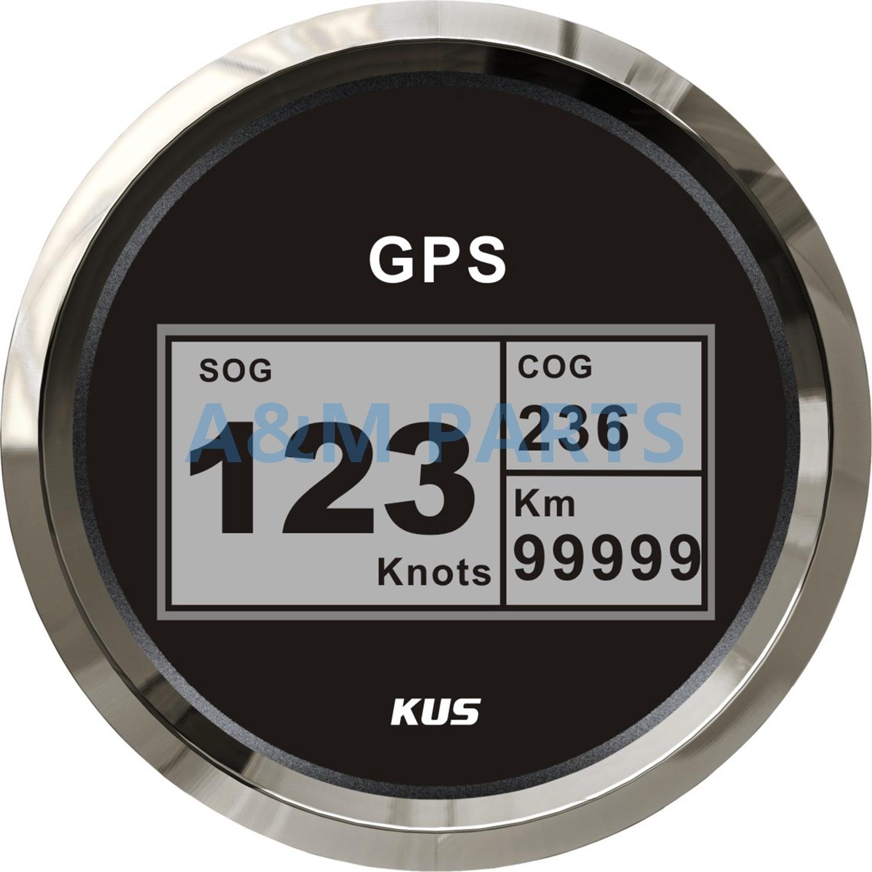 KUS Boat GPS Speedometer Electric Marine Truck Car RV Digital LCD Speed Gauge SOG COG Knots Compass With GPS Antenna 85mm