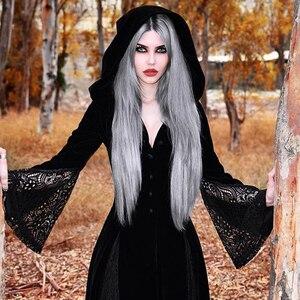Image 3 - Maxivestido con capucha gótico de noche de brujas Vintage Sexy manga larga de llamarada de encaje Patchwork botón vestido largo cuello en V Empire Vestidos