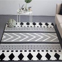 Fashion Black White Ethnic Folk Style Geo Living Room Decorative Carpet Area Rug Bathroom Floor Door Baby Crawl Play Mat Pad