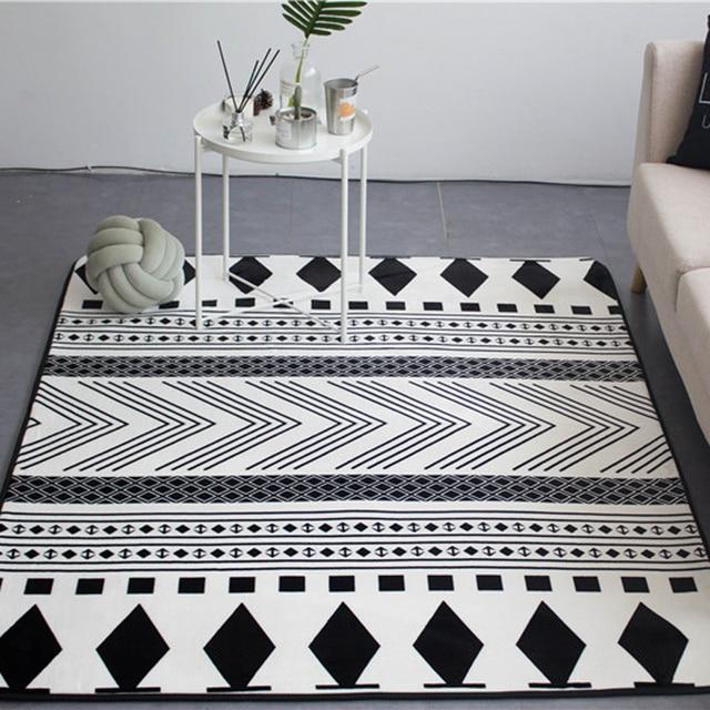 Mode Noir Blanc Ethnique Folk Style Geo Salon Décoratif tapis