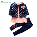 3pcs suit newborn baby girl clothes Kids Spring winter wave point clothing set fashion baby clothing outfit cotton infant suit