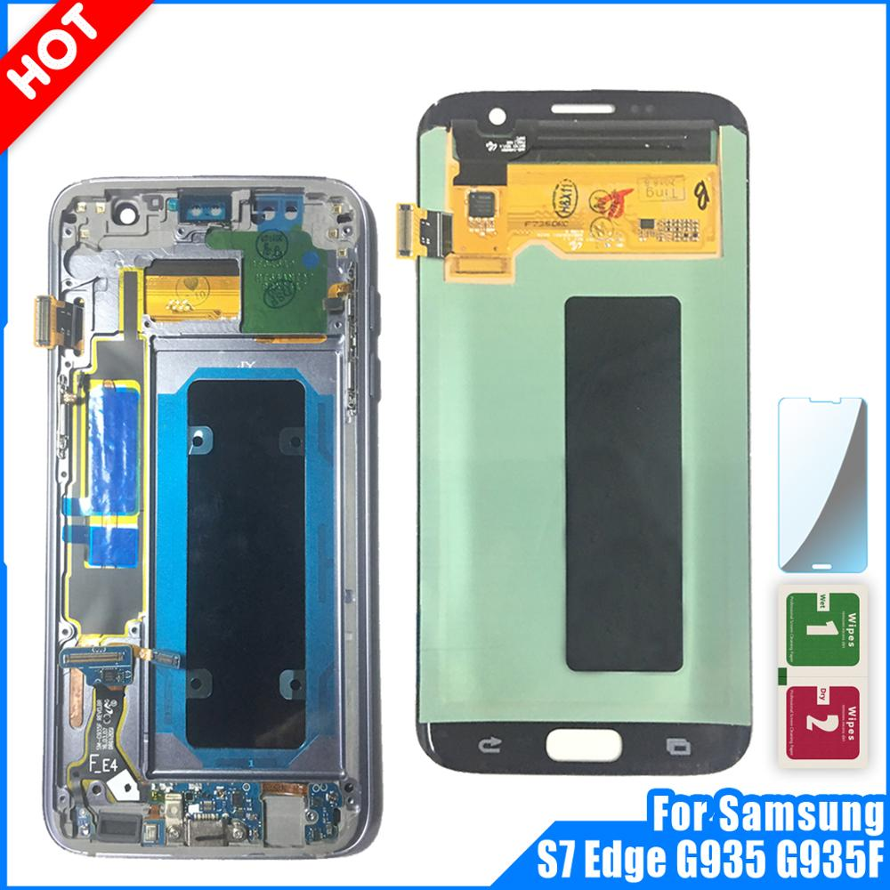 Super Amoled LCD Display For SAMSUNG Galaxy S7 edge G935 G935F Display Touch Screen Digitizer S7 Edge LCD Replacement with frame