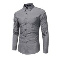 Brand 2017 Fashion Male Shirt Long Sleeves Tops Solid Color High Quality Shirt Mens Dress Shirts