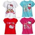 Промо мальчик девочка футболки комикс hello kitty рубашка дети топы тис лето короткая рукавами младенцы одежда размер 2T-7