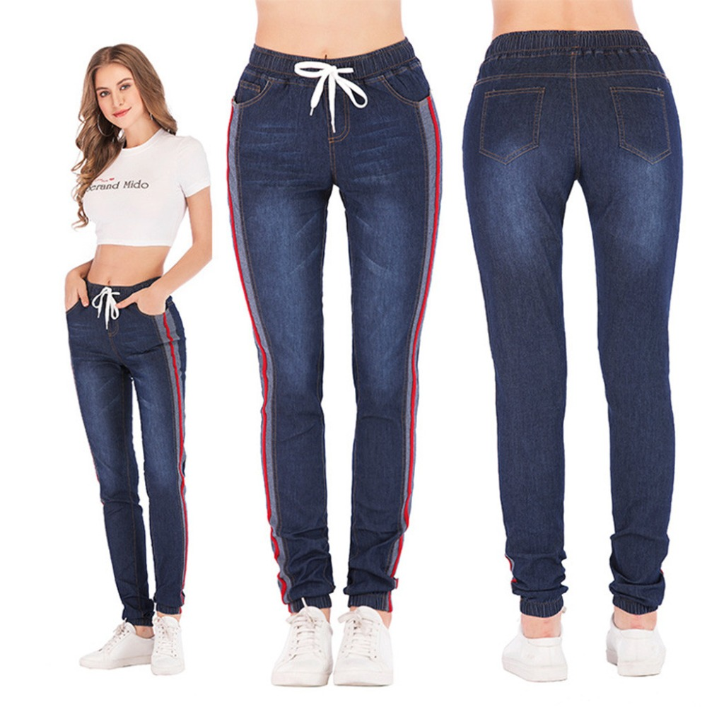Ankle-Length High Waist   Jeans   Woman Side Striped Patchwork Skinny   Jeans   All Matched Casual Pants Brief Slim Winter Boots   Jeans