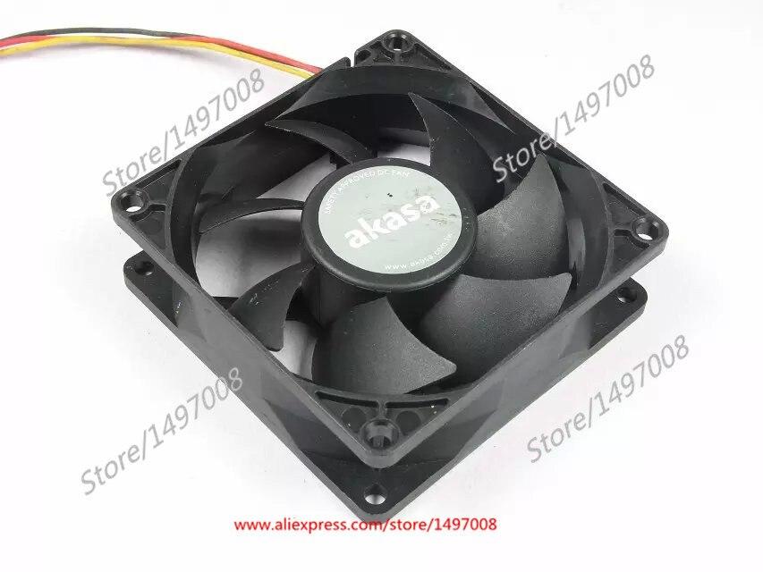 Emacro AKASA F128025SH DC 12V 0.19AMP 80X80X25mm Server Square fan emacro for y s tech nyw08025012bs server square fan dc 12v 0 45a 80x80x25mm 2 wire