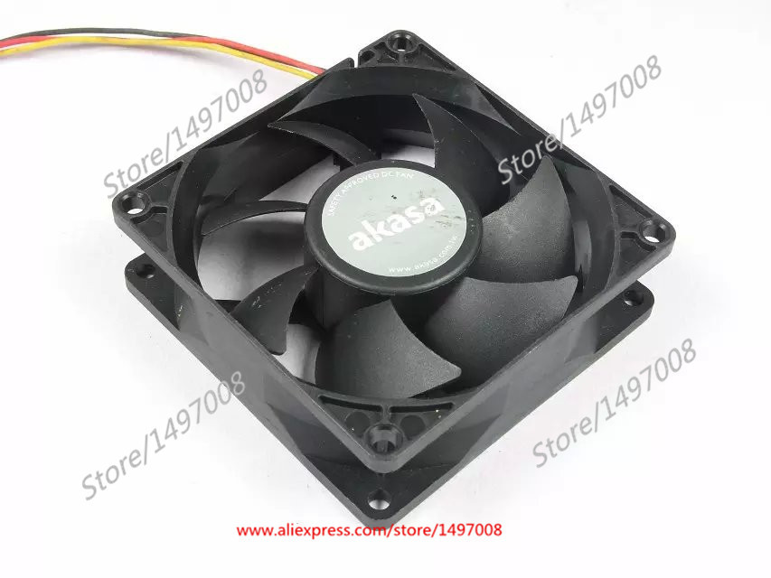 Free Shipping Emacro AKASA  F128025SH  DC 12V 0.19AMP 3-wire 3-pin connector 80mm 80X80X25mm  Server Square Cooling fan  free shipping emacro servo e0720h24b8as 35 dc 24v 0 16a 3 wire 3 pin connector 65mm server blower cooling fan