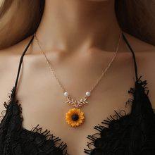 Женское длинное ожерелье с подвеской в виде подсолнуха