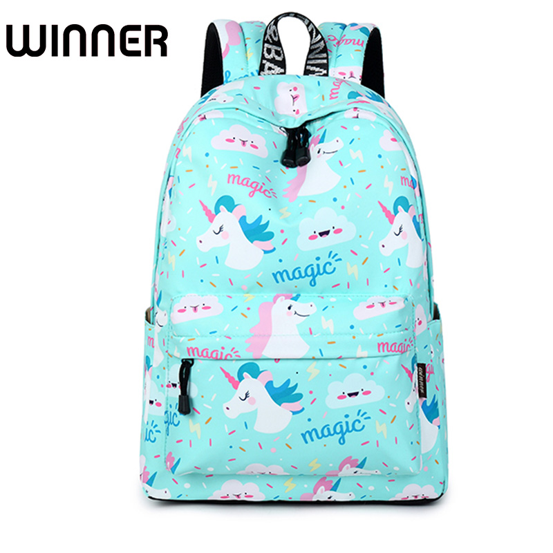 Unicorn Printing Backpack Women Waterproof Kawaii Blue Book Bags Laptop Bagpack School Bag For Teenage Girls Mochila