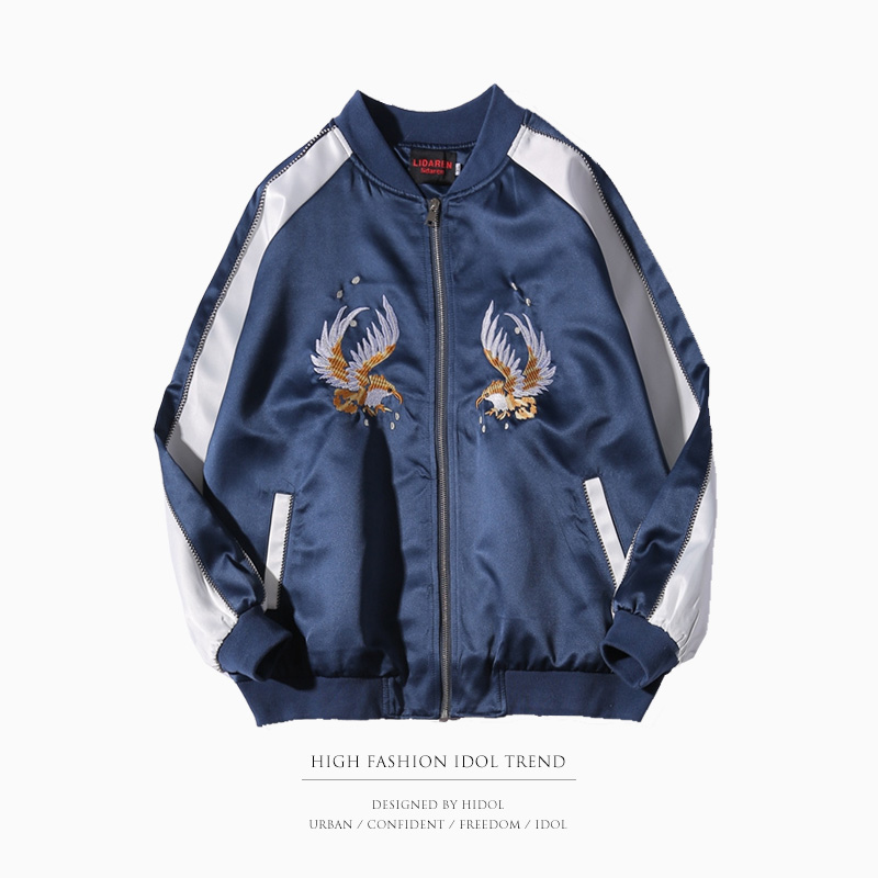 Éclair Manteau Veste Baseball Oiseau Butin Bleu Souvenir Marque Vêtements Militaire Broderie Spliced Yokosuka Hip Flore Fermeture Hop Hommes dqxPpd