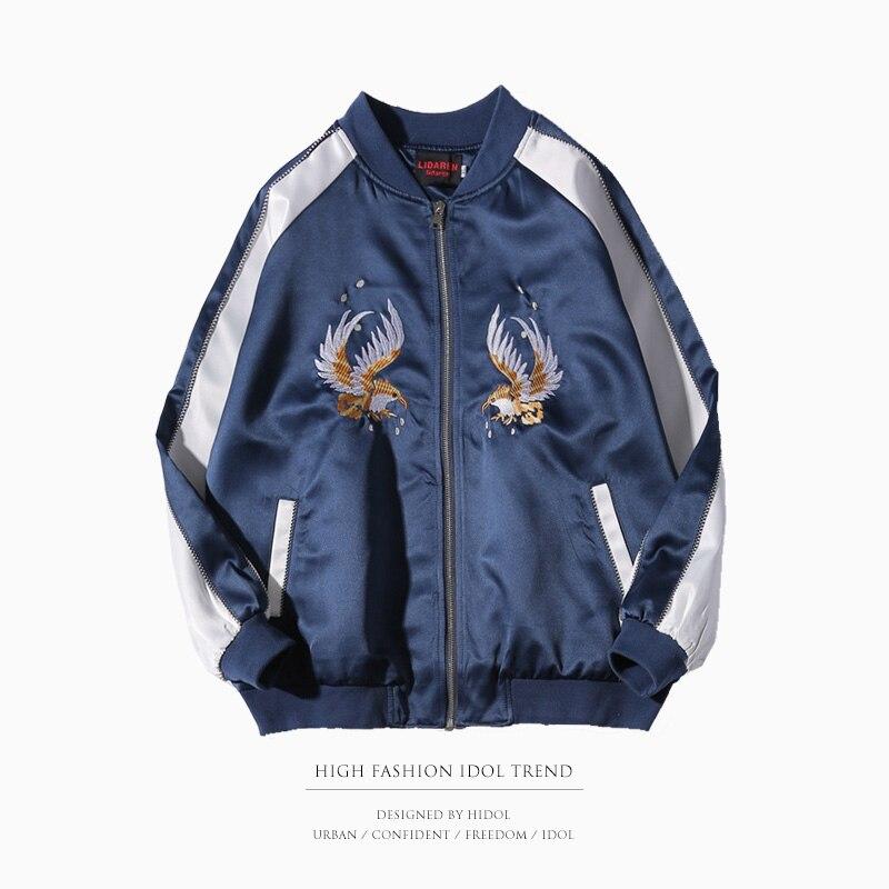 Zipper Military Souvenir Jacket Blue Yokosuka Jacket Spliced Embroidery Flora Bird Baseball Coat Brand Clothing Men Hip Hop Swag