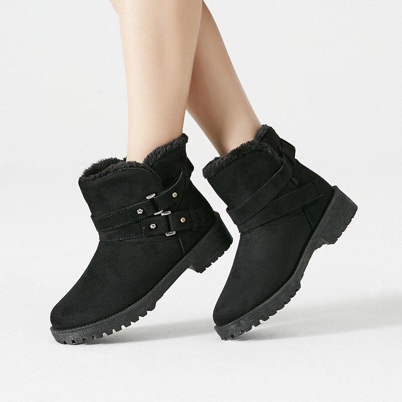 Stiefeletten Neue Frauen Booties Stil Schnee 35 43 Schwarzes Britischen Schuhe grau Runde Größe Boot orange Casual blau Warme Kappe Winter Stiefel drtIwqxr