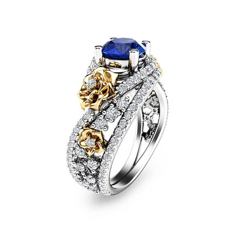 Gold Rose & Sapphire Blue Ring 2