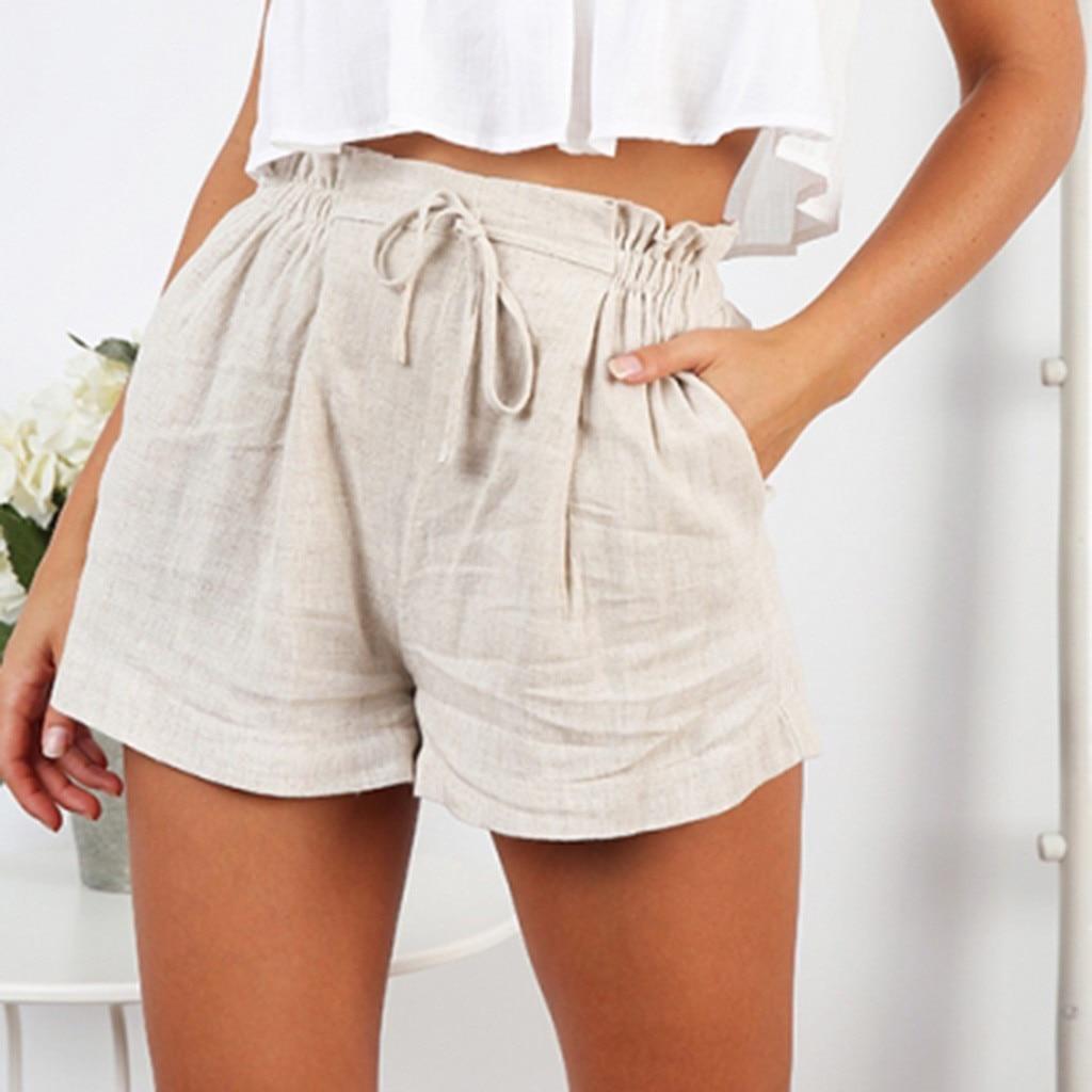 Short Trouser Linen Loose High-Waist Korean Plus-Size Summer Cotton Casual Women Lady