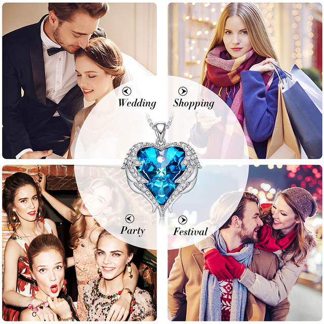 Women Pendant Blue Rhinestone Heart Of Angel Lover Valentine' Gifts
