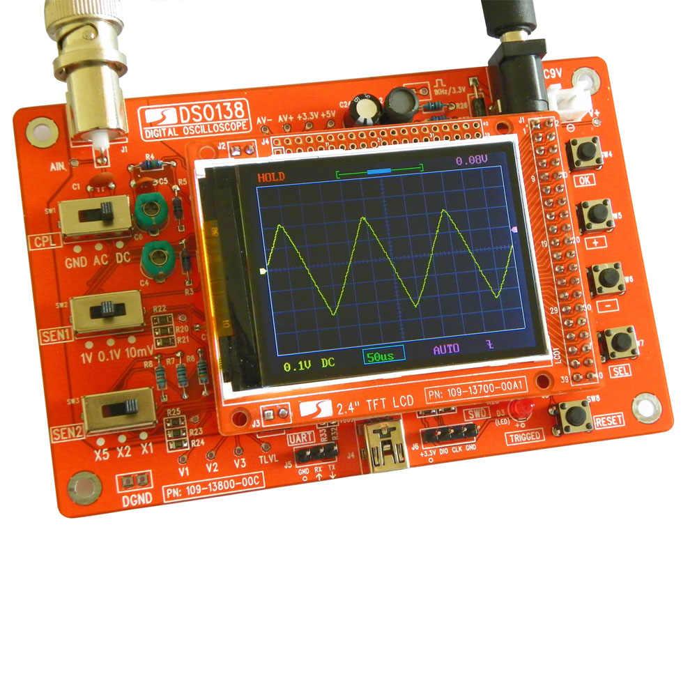 "DSO138 2.4 ""TFT بحجم الجيب ملتقط الذبذبات الرقمي عدة لتقوم بها بنفسك أجزاء يده + أكريليك لتقوم بها بنفسك غطاء حماية شل ل DSO138"