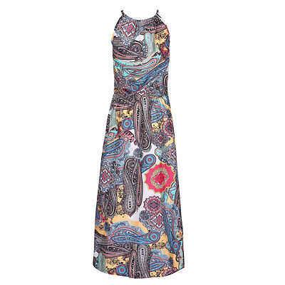 Gogoboi多色花柄ボタン分割フロントフレアビーチ摩耗自由奔放に生きるマキシドレス女性半袖ホルターロングドレス
