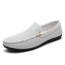 low cost gents gingham loafers slip on stripe plaid canvas footwear breathable summer season cool drive footwear pattern trend informal footwear mens