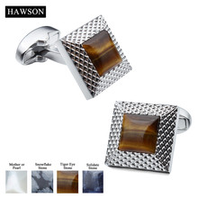 Retail With Box Trendy Square 17*17 MM Rhodium Plated With Different Material Stone Cuff Links For Men Dress Shirt Suit Wedding