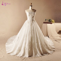 Waulizane Elegant Embroidery Organza Strapless Ball Gown Wedding Dress Floor Length Lace Up Beaded Applique Princess