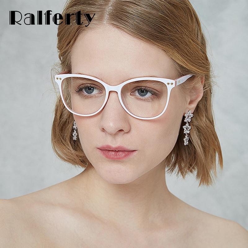 Ralferty 2018 New Eyeglasses Women Frame White Eyewear Frames Prescription Glasses Female Clear Glasses Myopia Spectacles F92124