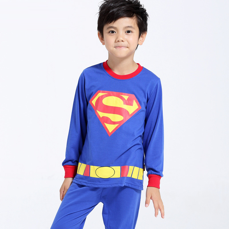 Superman Printed Pattern Kids Set Pajamas Set Boys Sleepwear Boys Clothes Kids Pjs Tiny Cottons Long Sleeve Top Boy Pants 2Pcs