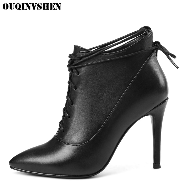 OUQINVSHEN Pointed Toe Thin Heels Women Boots Ladies Super High Heels Ankle Boots 2017 Casual Fashion Cross Tied Women's Boots