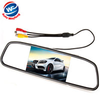 5 Digital Color TFT LCD Car Monitor Rearview Mirror Security Monitor for Camera DVD VCR PAL/NTSC DC12V 2 Video Input Port