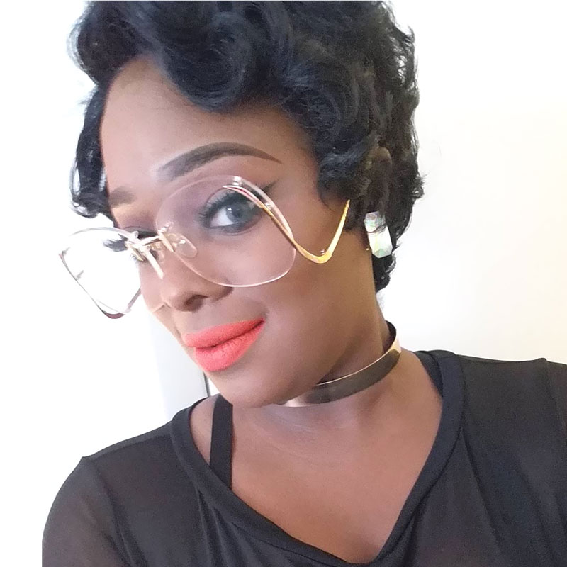 Classic Clear Rimless Gradient Vintage Sunglass Women Men UV400 Oversized eyeglass Transparent Shades Big Size sun Glasses
