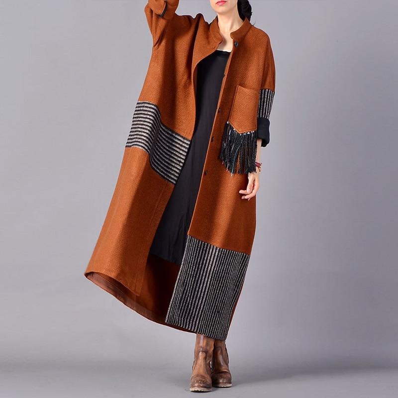 Johnature 2018 Autumn Winter New Wool Trench Women Patchwork Coats Vintage Loose Warm Pockets Loose Tassel Women Windbreaker