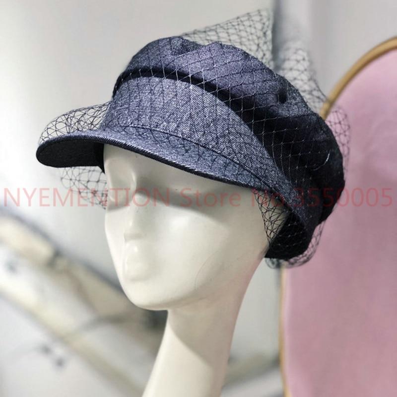 Autumn Denim Fabric Fashion Net Yarn Mesh Leisure Lady Octagonal Cap Women Beret Hat 10pcs 100% Original Apparel Accessories