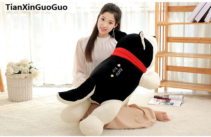 huge 120cm black husky plush toy down cotton prone husky soft doll hugging pillow birthday gift s0597 75cm super cute plush toy dog lipstick dog pillow doll lying prone as gifts to friends and children with down cotton