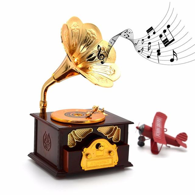 2016 Criativo Artesanato Criança Nostalgia Retro Fonógrafo Music Box Presente da Criança Por Atacado Ouro Clássico Chifre Trompete Retro Branco/Marrom