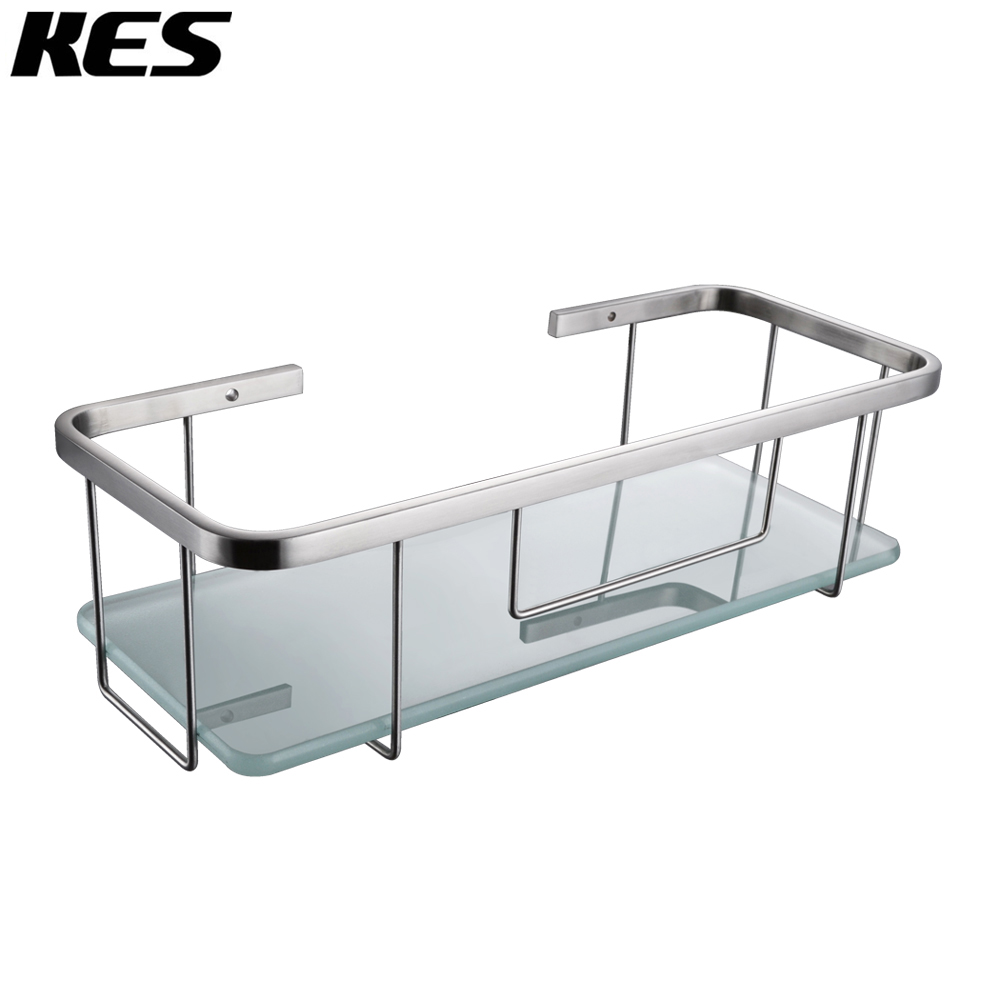 kes 12 6 inch long shower caddy sus304 stainless steel with tempered glass wall mount brushed. Black Bedroom Furniture Sets. Home Design Ideas