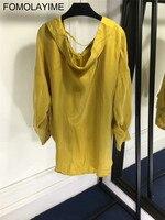 FOMOLAYIME Повседневное одноцветное футболки Модная Осенняя футболка Для женщин туника с длинными рукавами Топы дамы свободные короткие футбол
