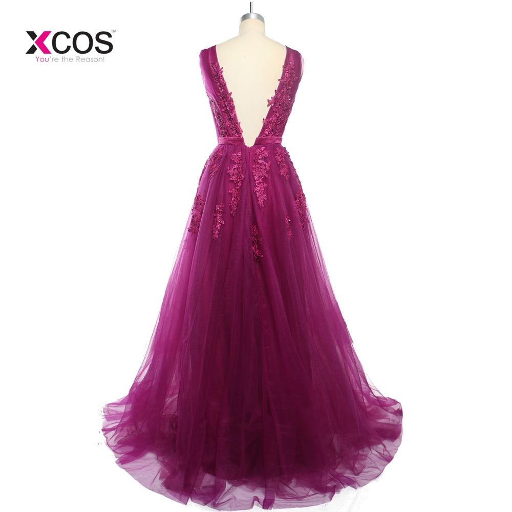 Lungimi formale lungi de lungime V-gât rochii de domnisoare de - Rochii de seară de nuntă - Fotografie 4