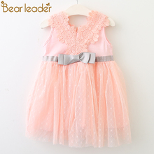 Bear Leader Baby Dress 2018 Ny Summer Bohemian Style Lace Bow Patchwork Tutu Kjole For 0-2 År Old Kids Dress For Party