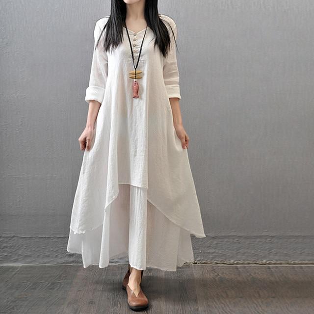 Witte maxi jurk katoen