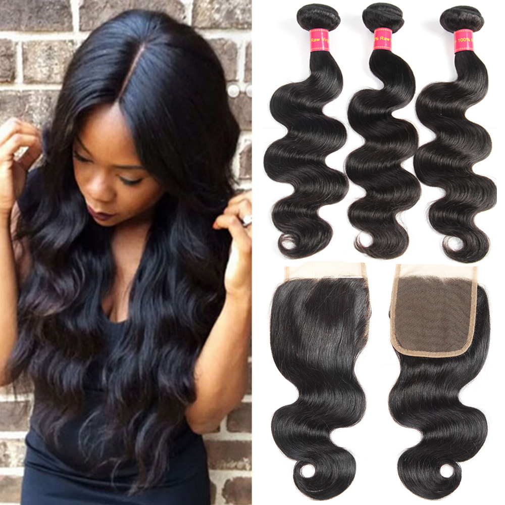 Devotion Brazilian Hair Body Wave 3 bundles with Lace Closure 100% Human Hair Bundles with Closure Top Non Remy Hair Extensions