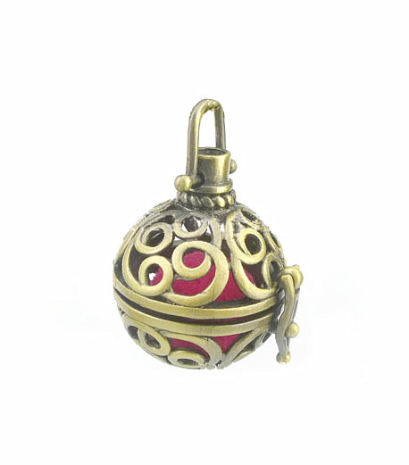34x25mm Vintage Filigree Hollow Round Ball Box Cage Locket Pendant For DIY Essential Oil Diffuser Perfume Sound Chime Necklace