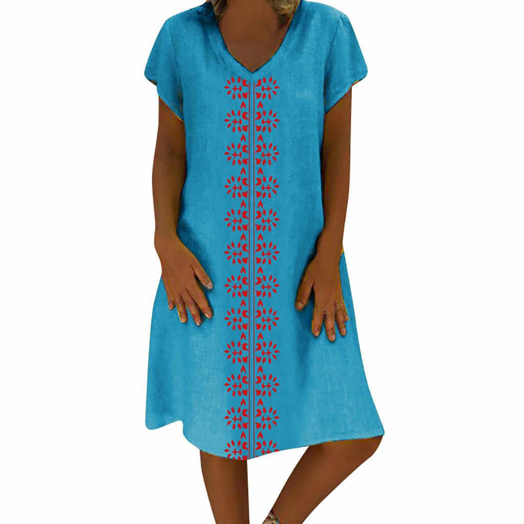Linha de algodão feminino mini vestidos plus size 5xl vestido de verão com decote em v impresso algodão e linho casual plus size vestidos de senhoras #5 $
