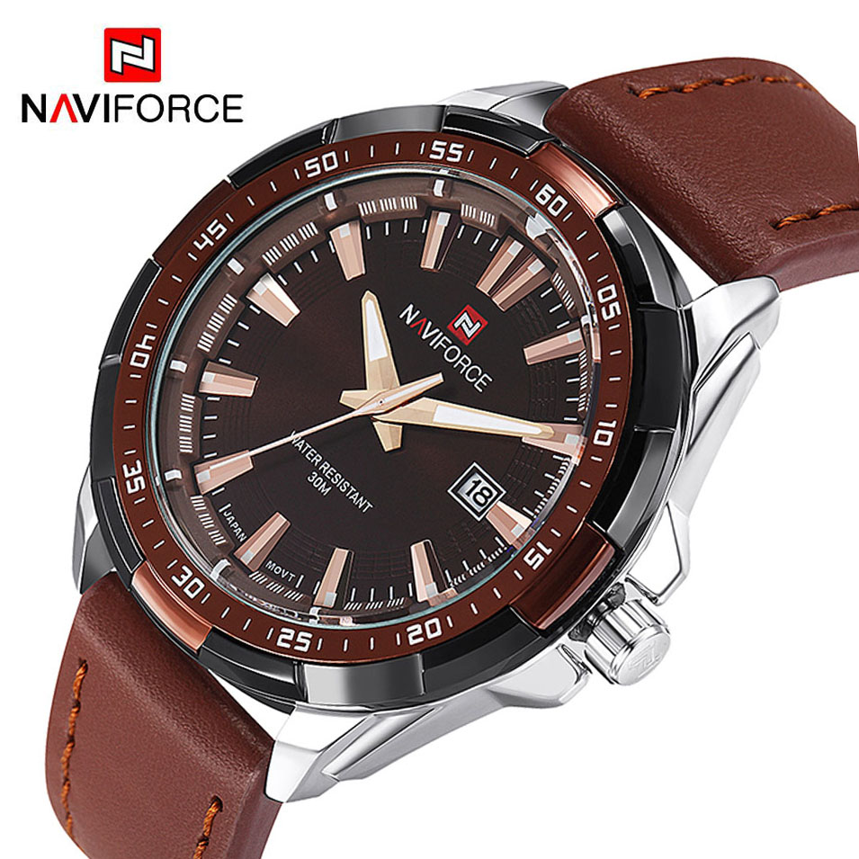 NAVIFORCE Luxury Brand Fashion Men Watches Military Sports Men's Quartz Waterproof Clock Man Leather Strap Casual Wrist Watch xinge top brand luxury leather strap military watches male sport clock business 2017 quartz men fashion wrist watches xg1080