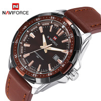 NAVIFORCE 9056 Men Leather Band Quartz Watch 30M Water Resistant Luminous