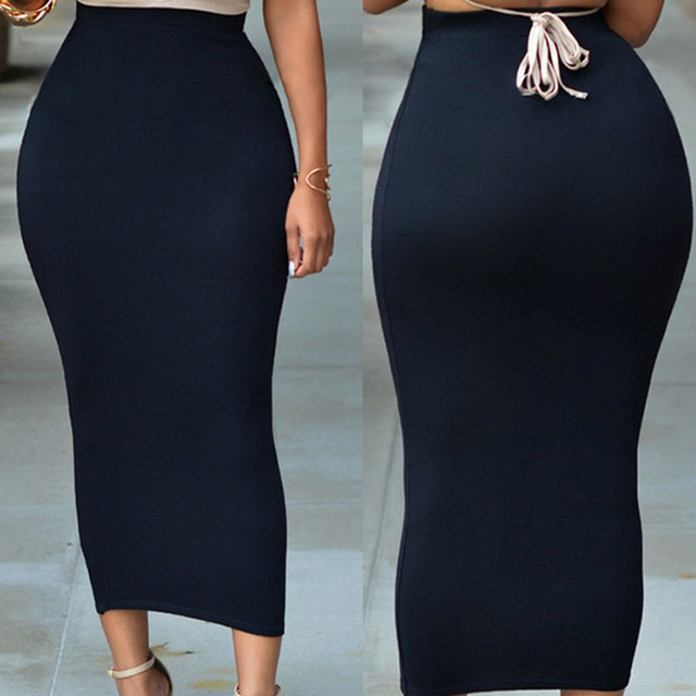 Black Skirt Women Femme Summer Gonna Anklet Length Saia Fiesta Tight Pencil Long Maxi Slim Skirts Women Falda Largas Jupe Longue