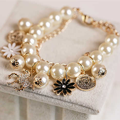 2019 New Korean Fashion Multilayer Simulated Pearl Beaded Bracelet Crystal Horse Flower Charm Bangle Bracelets For Women Jewelry