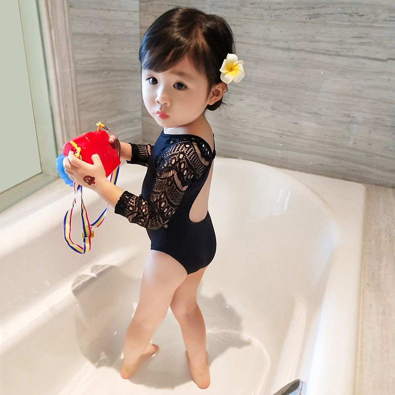 Baby Girl Conjoined Swimsuit Black Bathing Suit for Kids Daughter Lace Long Sleeve Babe Swimwear Bikini One Piece Swimsuit in Children 39 s One Piece Suits from Sports amp Entertainment