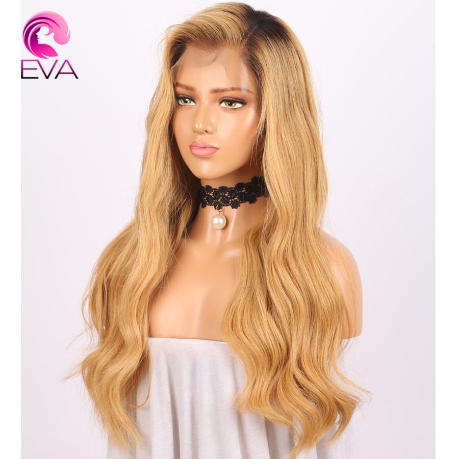 Lace Front Human Hair Wigs Brazilian Body Wave Ombre Remy Hair Pre Plucked Natural Hairline Lace Front Wigs With Baby Hair EVA