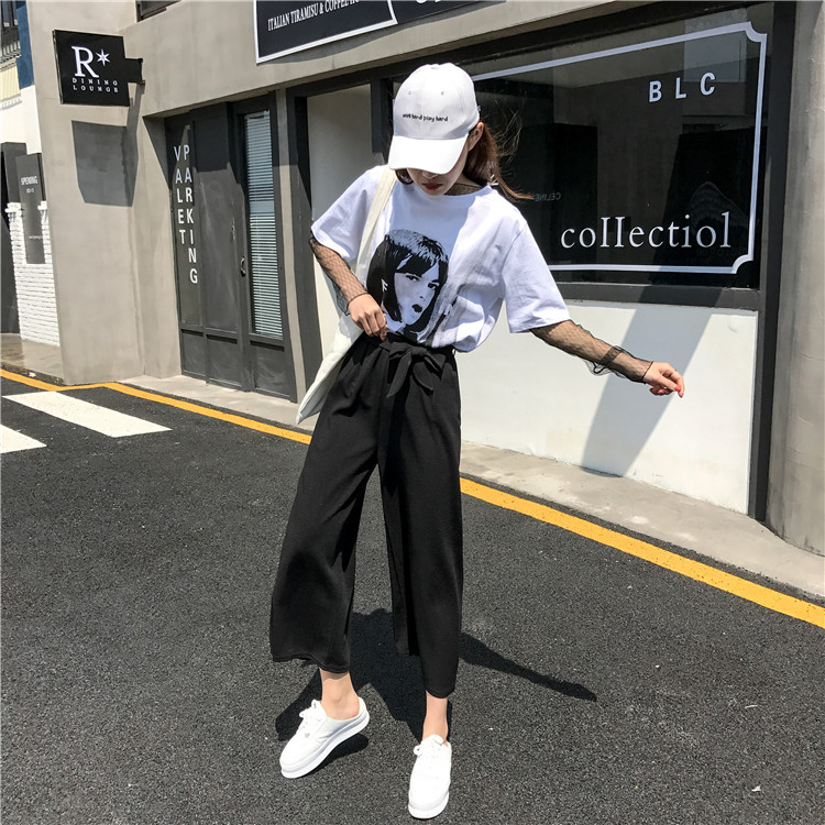19 Women Casual Loose Wide Leg Pant Womens Elegant Fashion Preppy Style Trousers Female Pure Color Females New Palazzo Pants 29