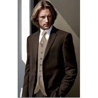 חדשים חתן טוקסידו חליפת גברים ארוחת ערב חתונה Notch דש השושבינים חום עיצובים צפצף המעיל האחרונים mens חליפות (מעיל + מכנסיים + העניבה + Vest)